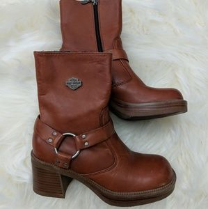 Harley-Davidson cognac heeled motorcycle boots